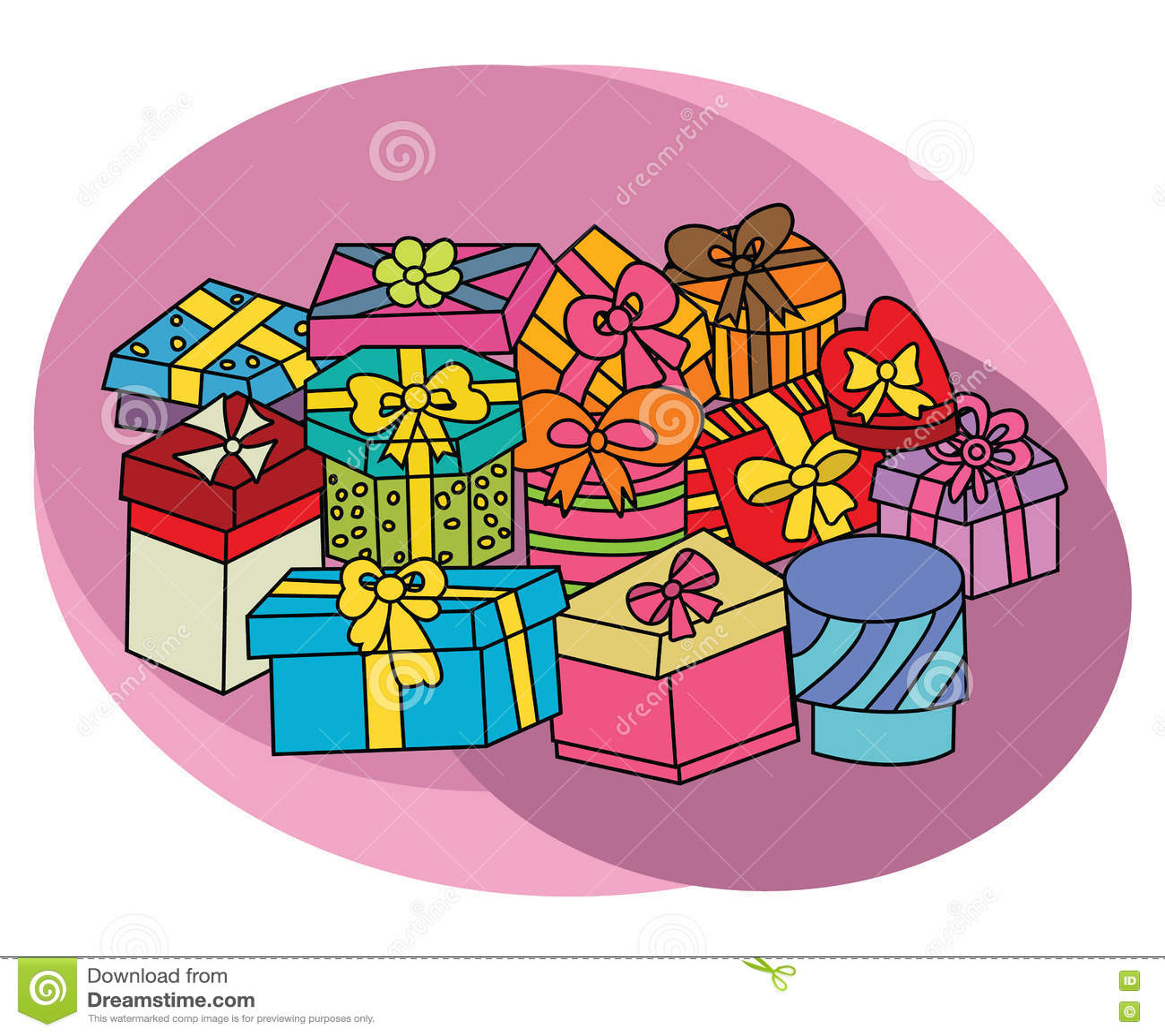 Birthday Gift Boxes Design Set Cartoon Free Hand Draw Doodle Stock