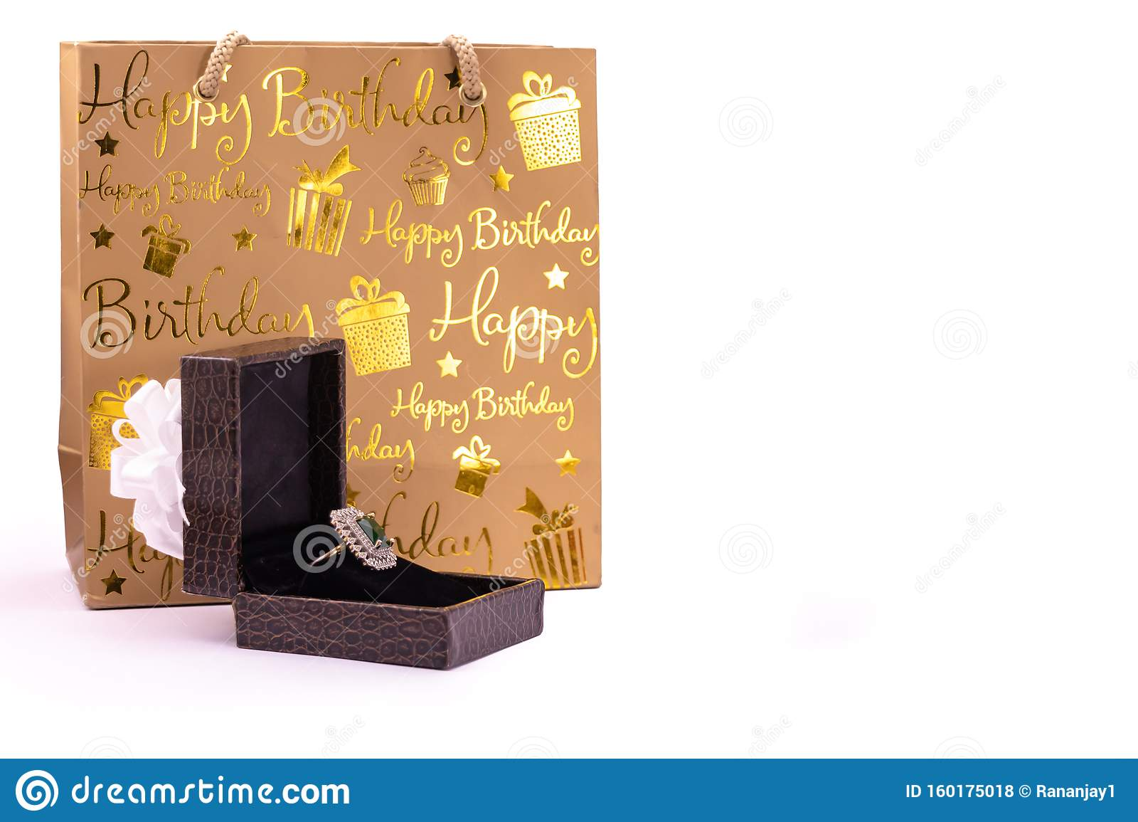 Birthday Gift Concept Emerald Ring In Lather Gift Box Isolated On White Background With Carry Bag Stock Photo Image Of Decoration Object 160175018