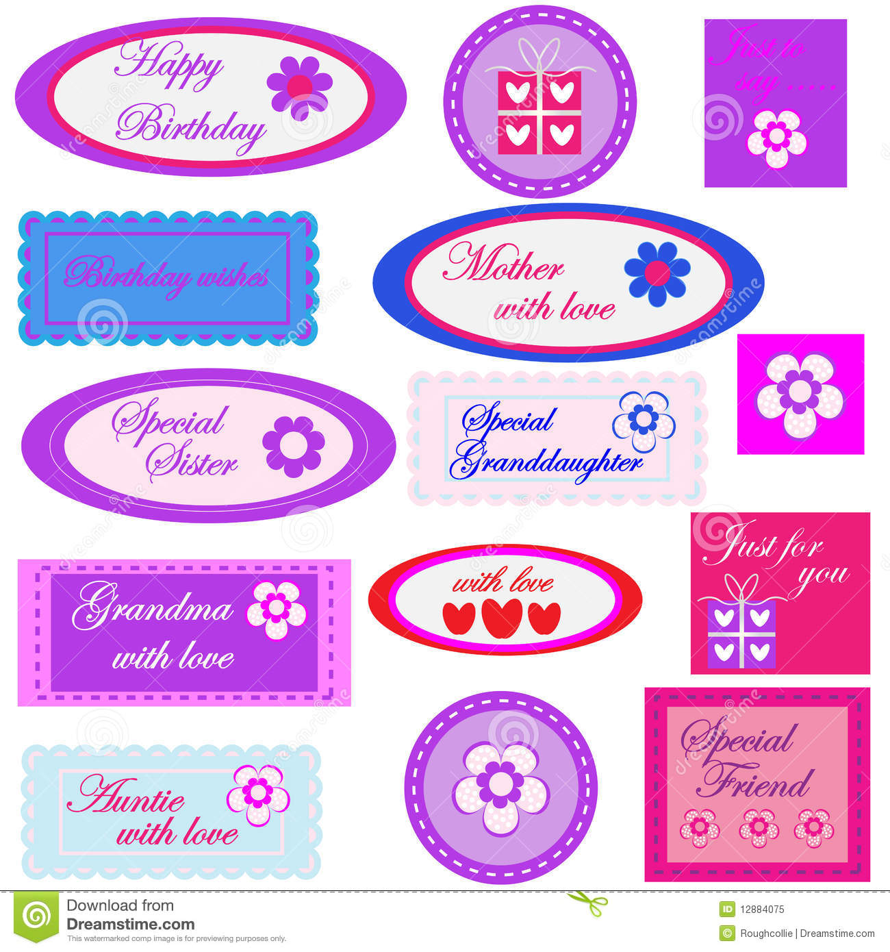 Birthday Gift Labels Tags