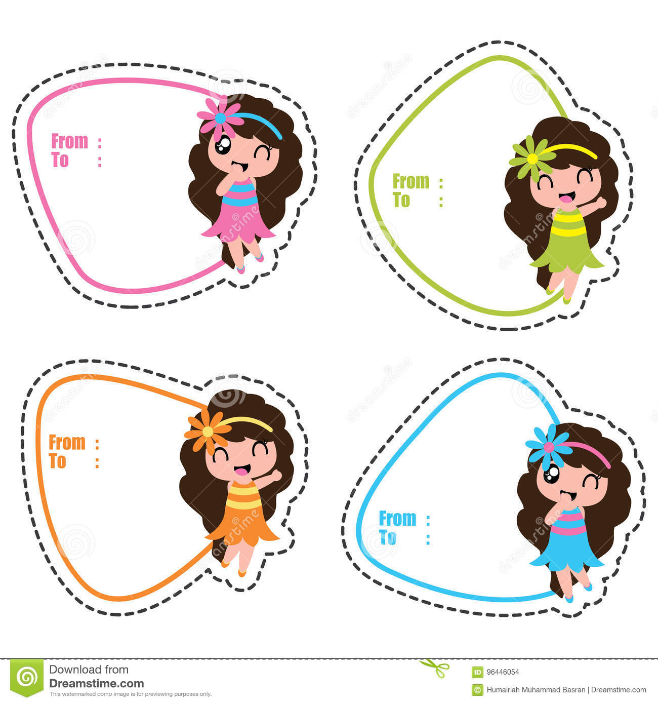 Birthday Gift Tags With Cute Hawaiian Girls On Colorful Frames Vector Cartoon For Kid Tag And Label