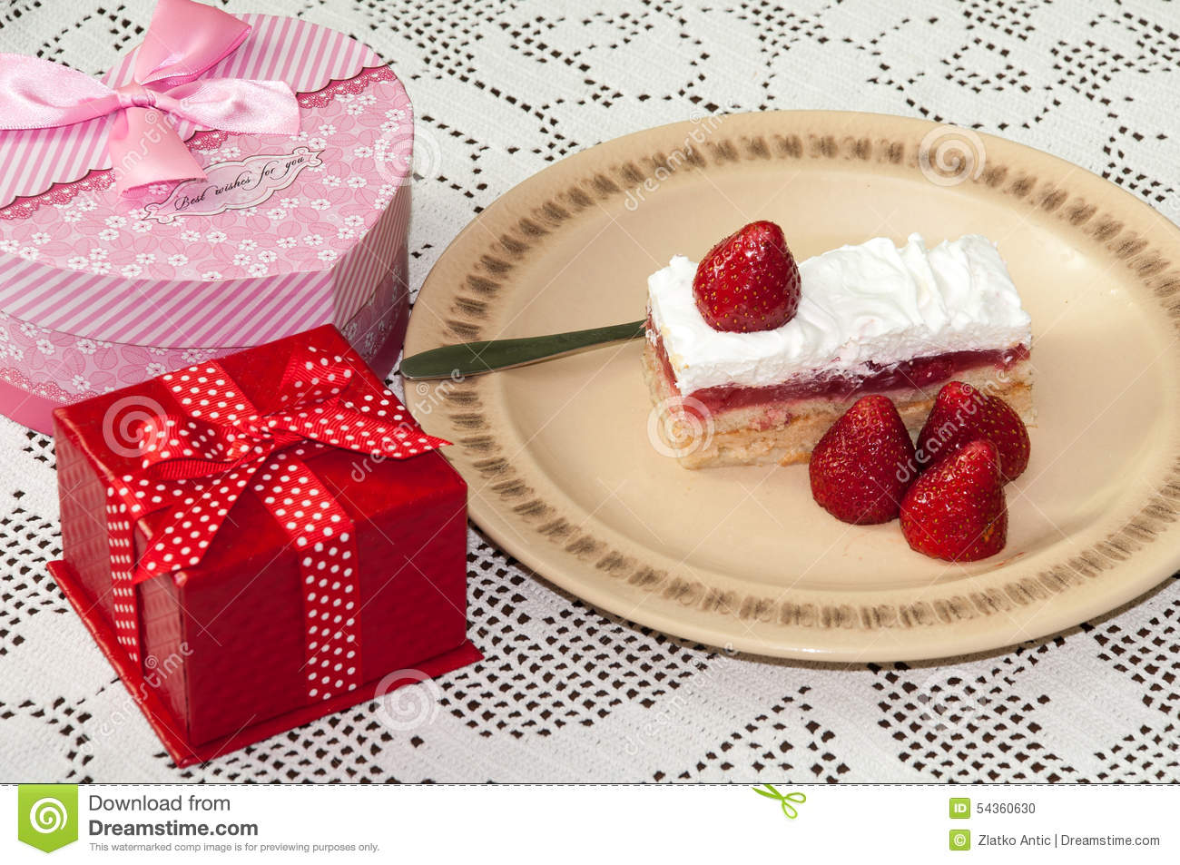 Birthday gifts with strawberry cake on the table stock photo image royalty free stock photo negle Choice Image