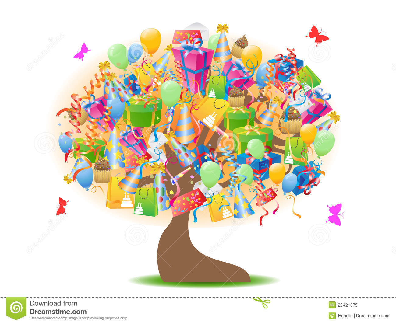 Birthday Gifts Tree Royalty Free Stock Photo - Image: 22421875