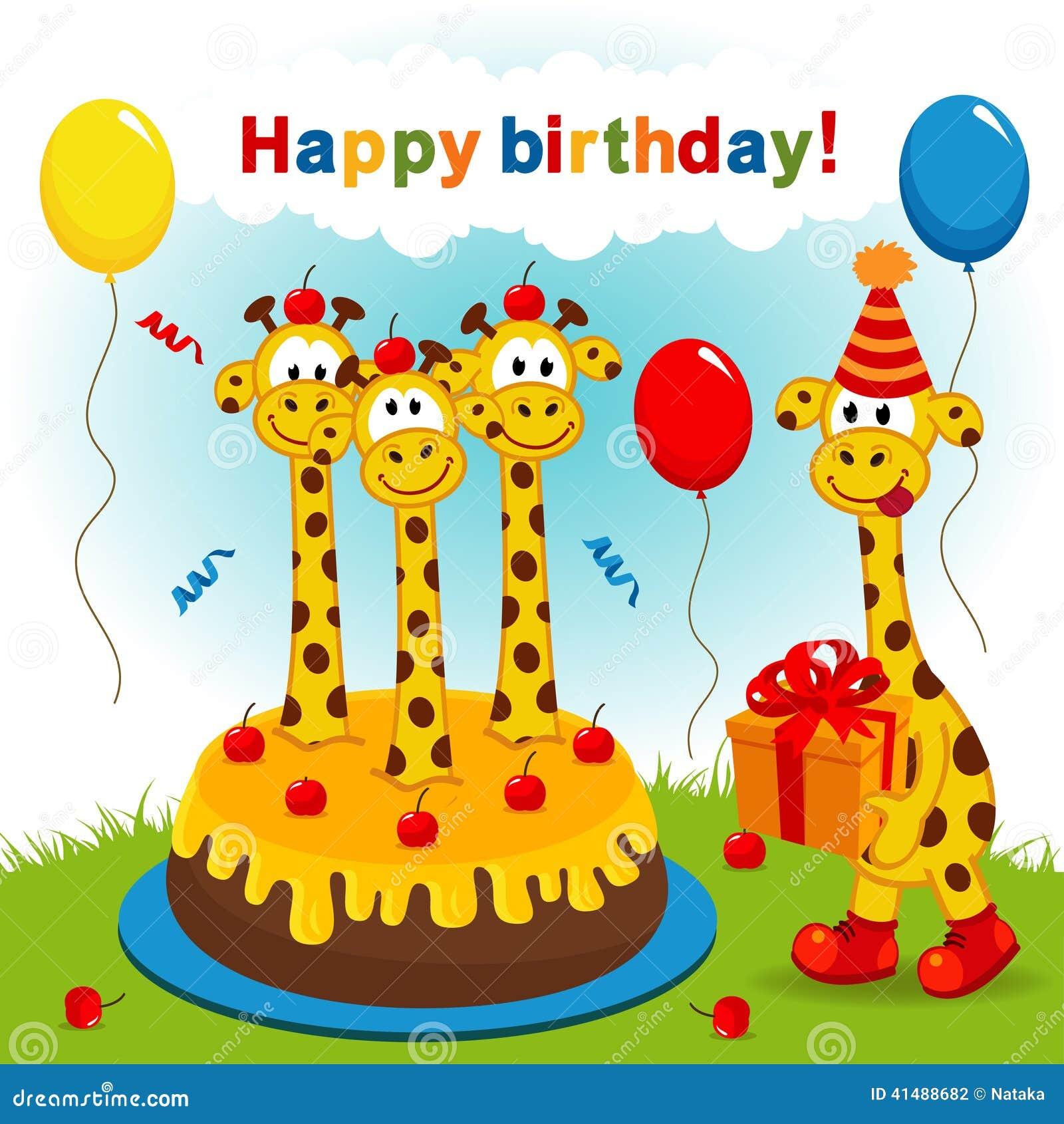 Giraffe Birthday Cake Cartoon