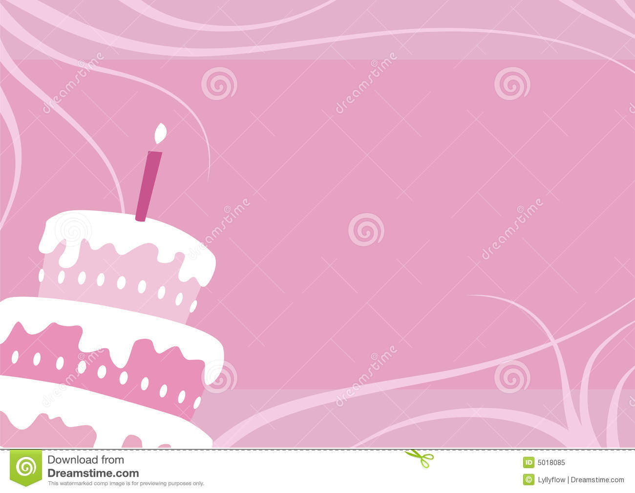 Birthday Girl Cake Background With One Candle