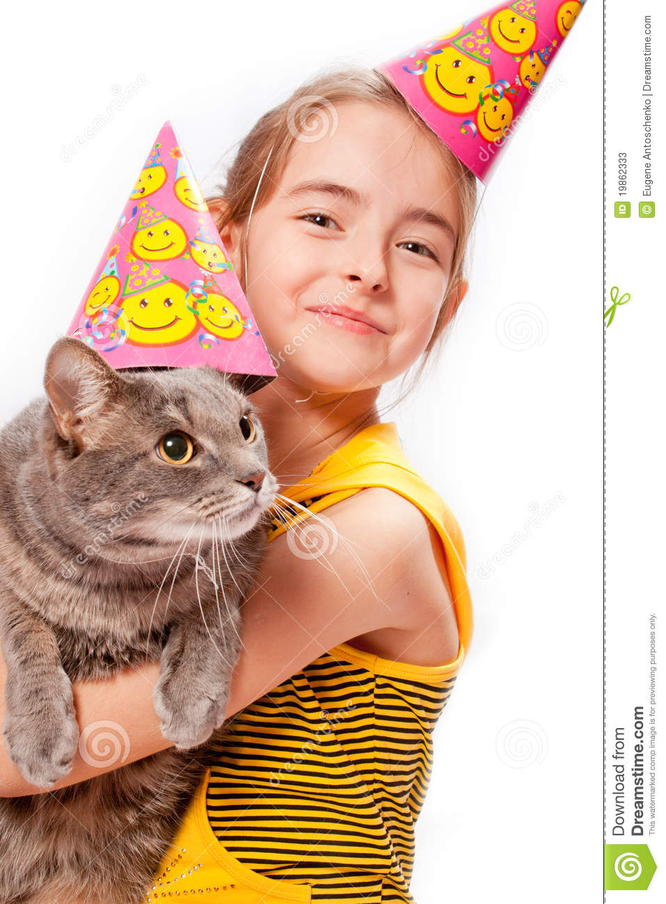 Birthday Girl And Cat Stock Image Image Of Birth