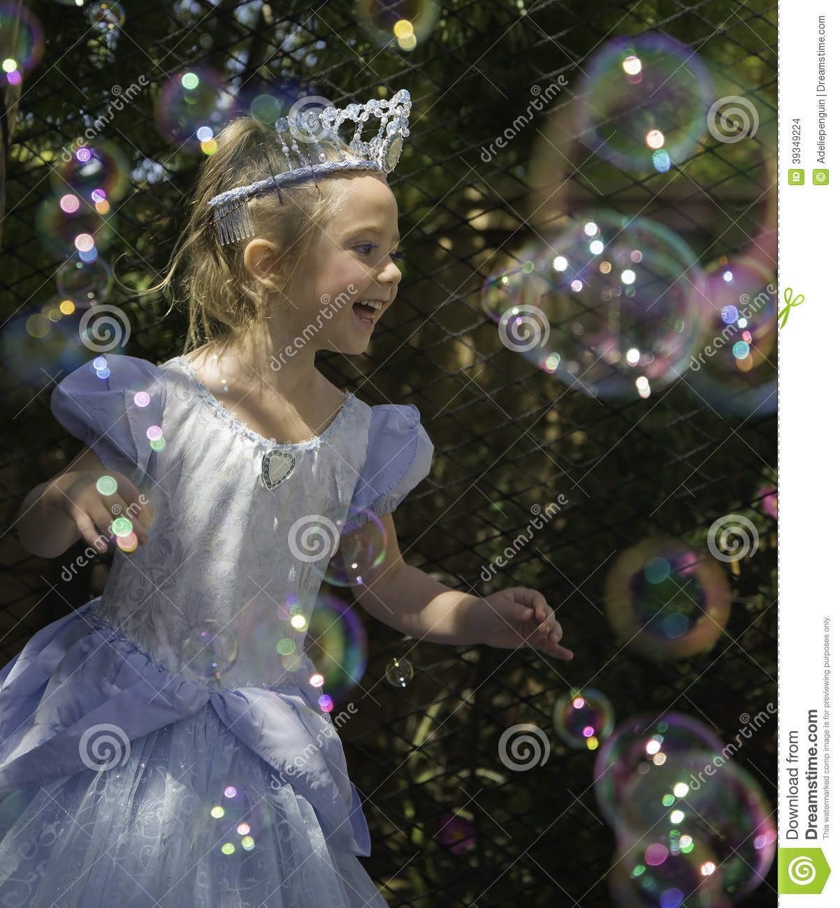 Birthday Girl Princess with Bubbles