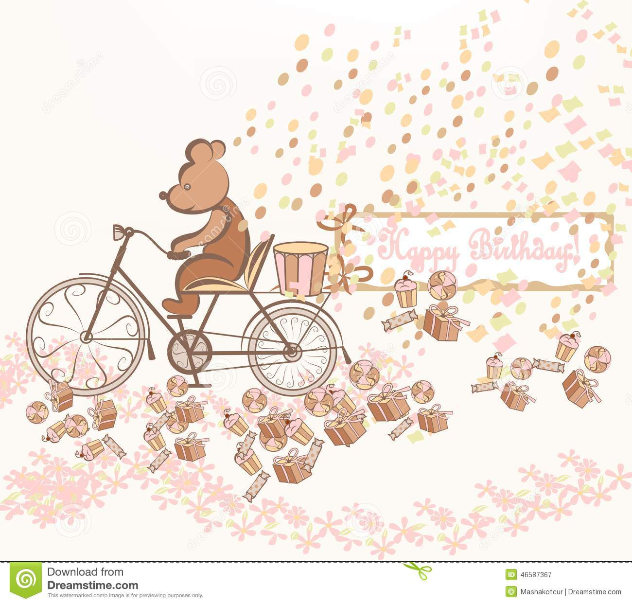 Happy Birthday Vector Card With A Bicycle Vector Image – Birthday Card Art