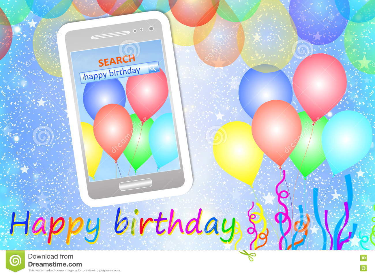 Birthday Greeting Card Or Background With Cellphone Photo – Free Cell Phone Birthday Greetings