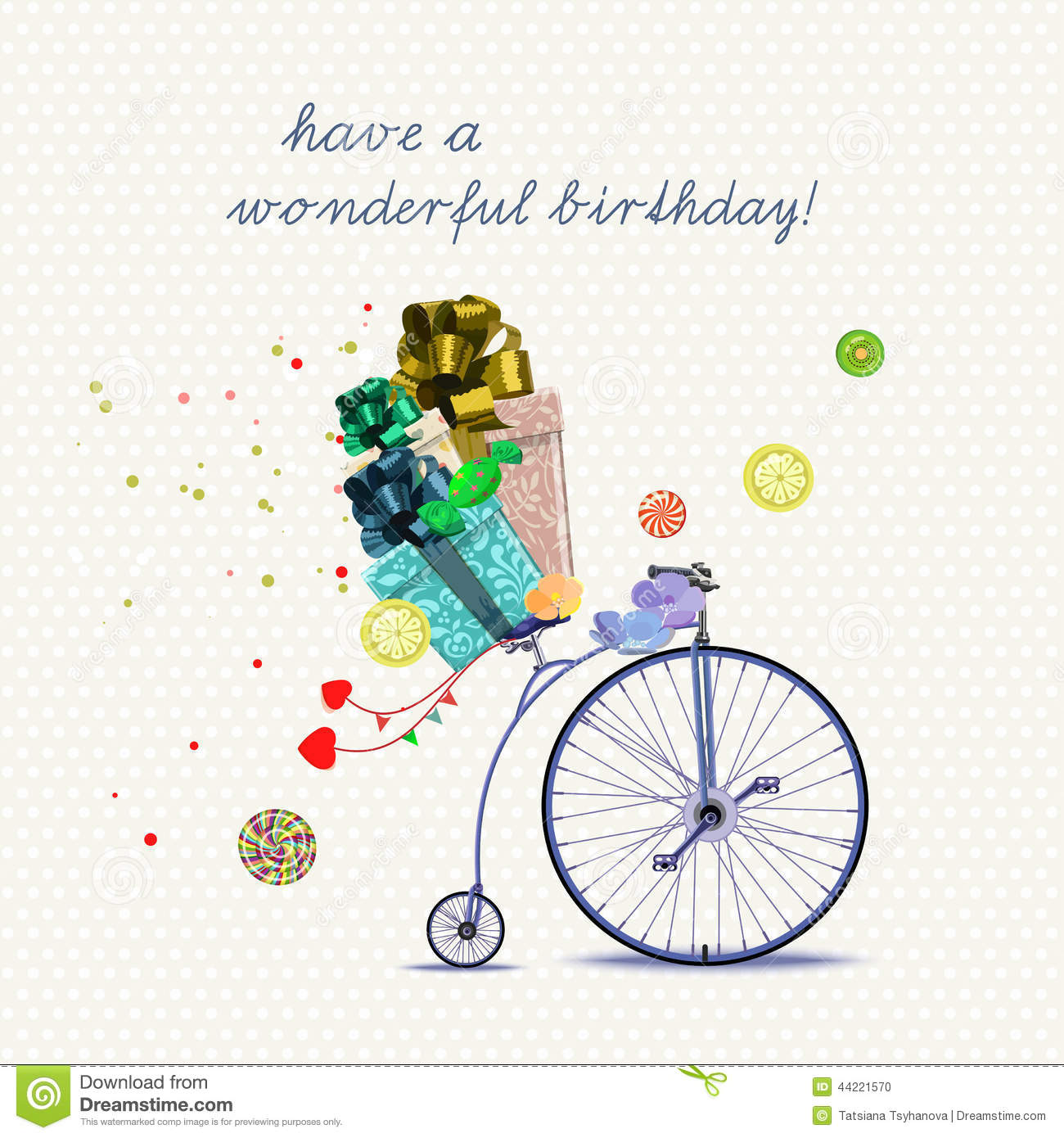 Birthday greeting card with bicycle and gifts in cartoon style on birthday greeting card with bicycle and gifts in cartoon style on light background vector illustration kristyandbryce Image collections