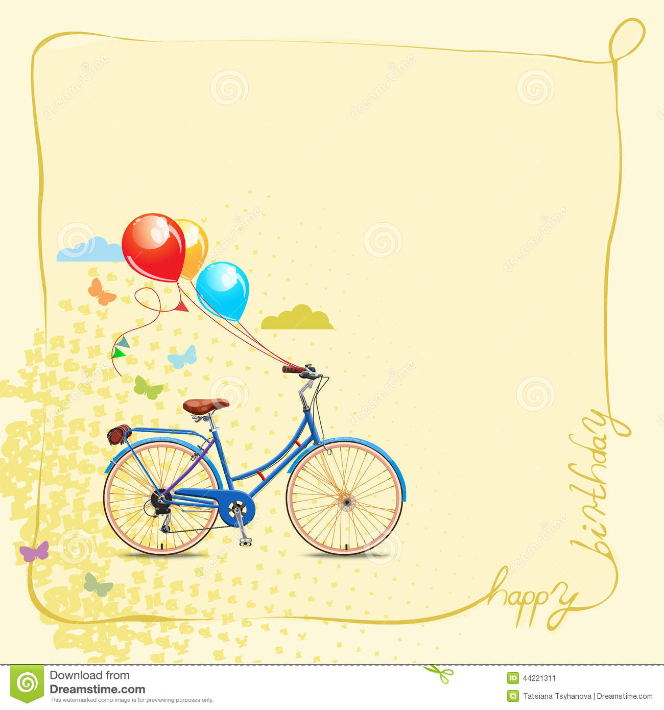 Birthday greeting card with bicycle and balloons in vintage style birthday greeting card in cartoon style with bicycle and balloons vector illustration stock image kristyandbryce Image collections