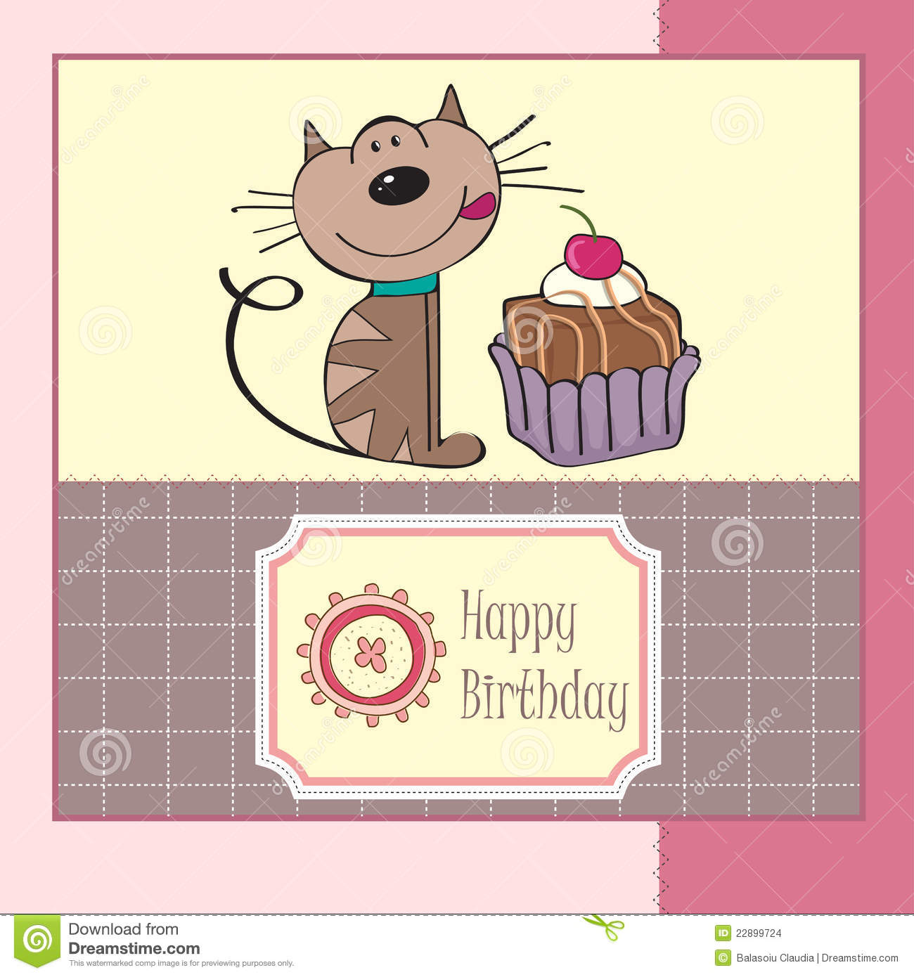 More similar stock images of ` Birthday greeting card with cat `