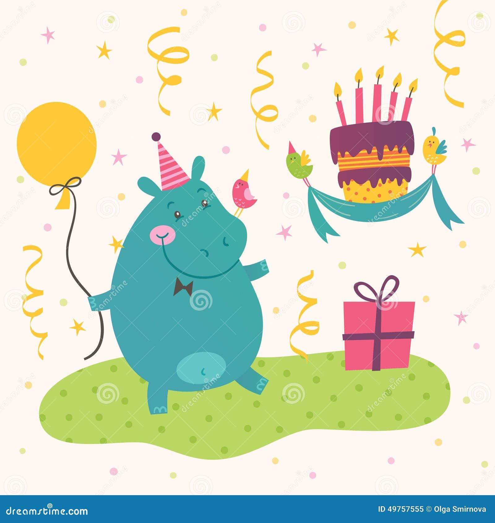 Happy Hippo Birthday Cake