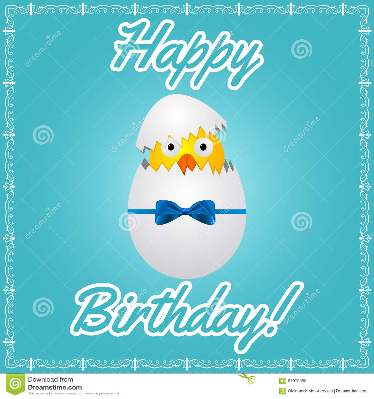 Birthday Greeting Card With Cute Little Chicken Stock