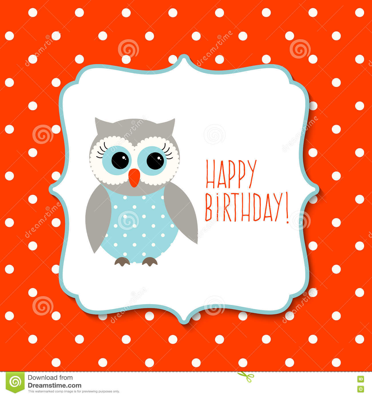 Birthday Greeting Card With Cute Owl On Polka Dot Background Stock