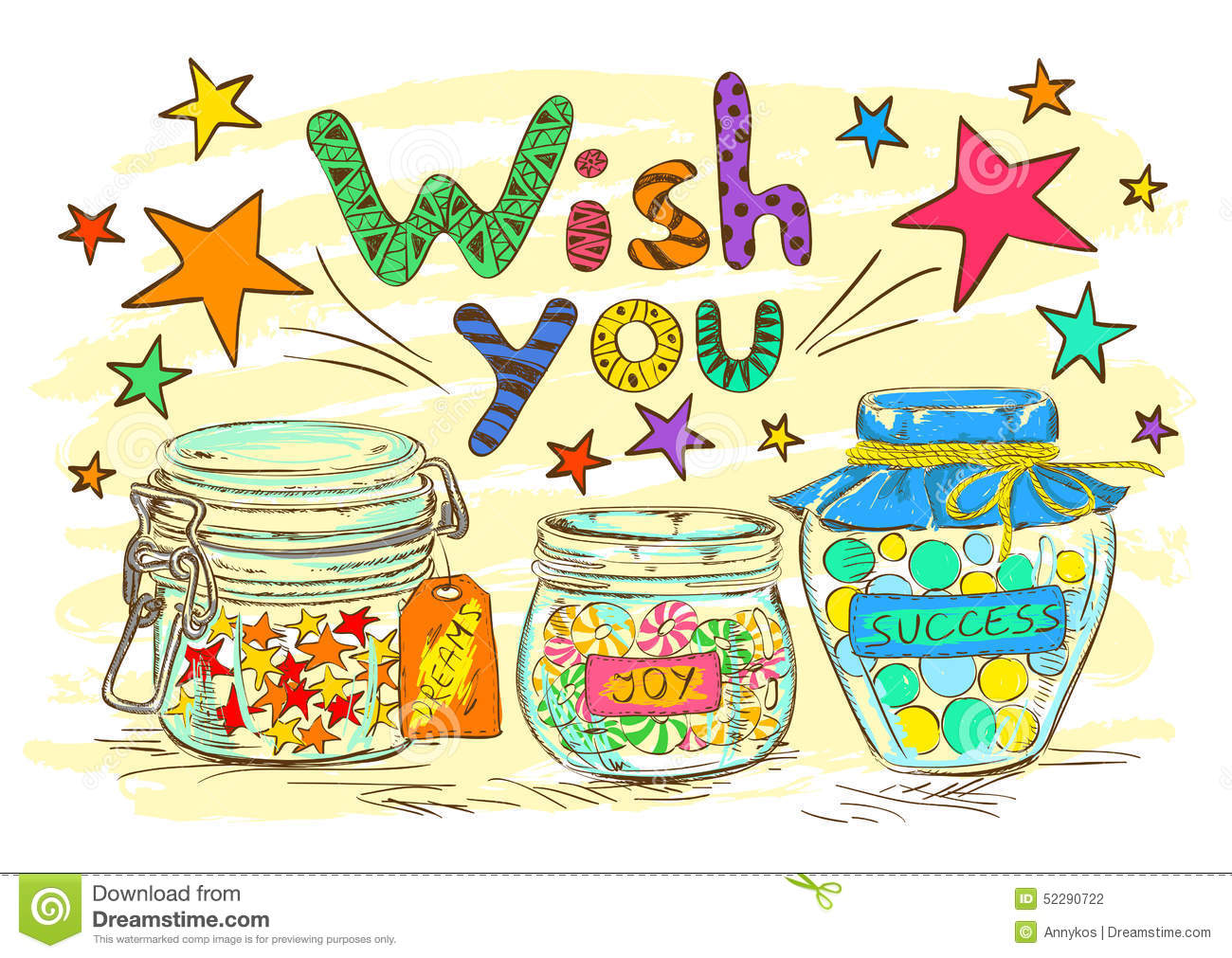 Birthday Greeting Card With Jars And Wishes Vector Image – Cartoon Birthday Greetings