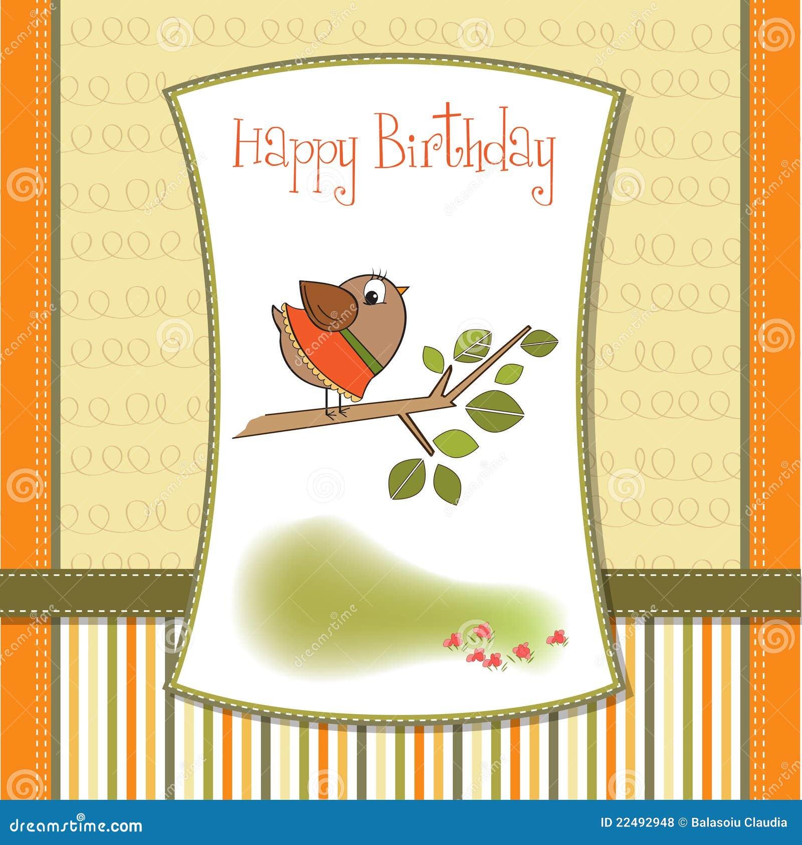 Birthday greeting card with little bird