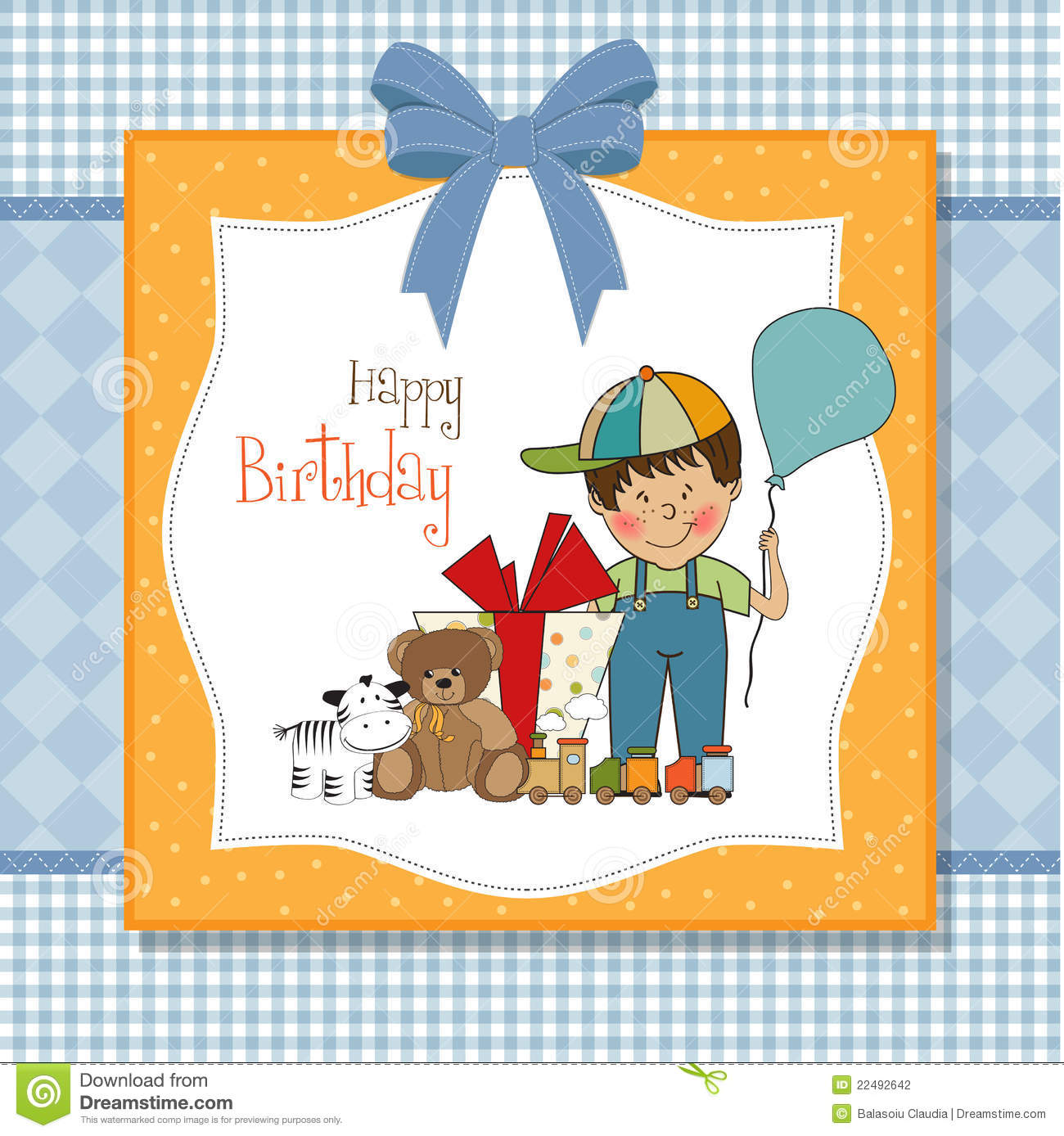 Birthday Greeting Card With Little Boy Stock Illustration