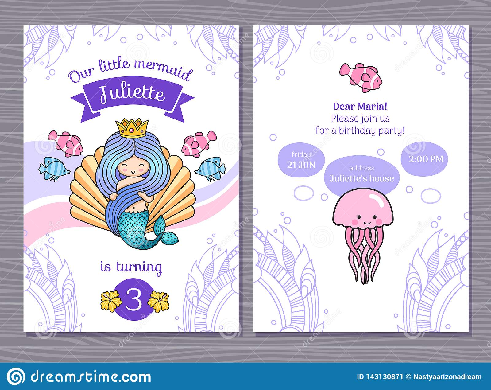 Astonishing Birthday Greeting Card With Little Princess Mermaid And Big Sea Funny Birthday Cards Online Fluifree Goldxyz