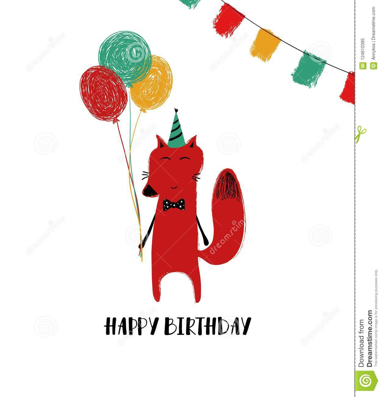 Birthday Card With Red Fox