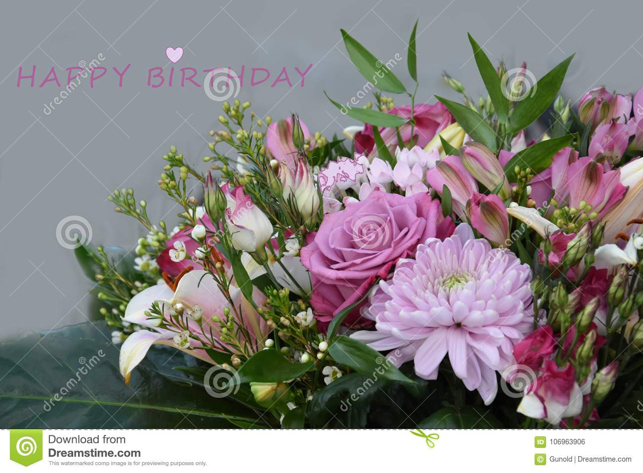 Birthday Greeting Card With A Bouquet Of Rose And White Flowers