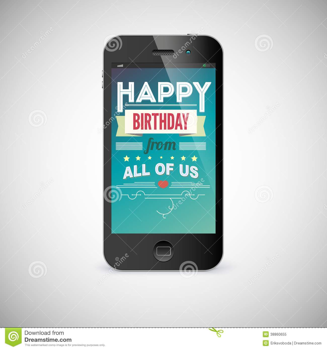 birthday greeting card on screen of mobile phone stock illustration image 38860655. Black Bedroom Furniture Sets. Home Design Ideas