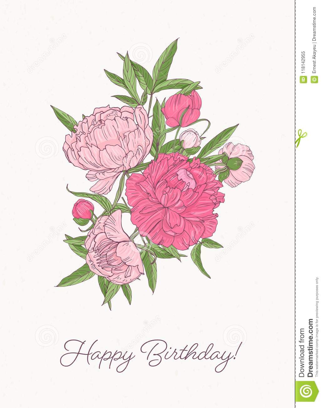 Birthday Greeting Card Template With Bunch Of Gorgeous Blooming