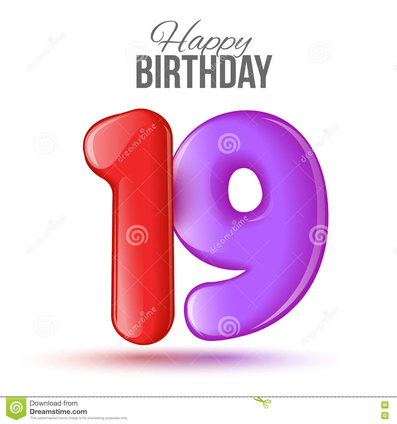 Birthday Greeting Card Template With Glossy Number Nineteen Shaped