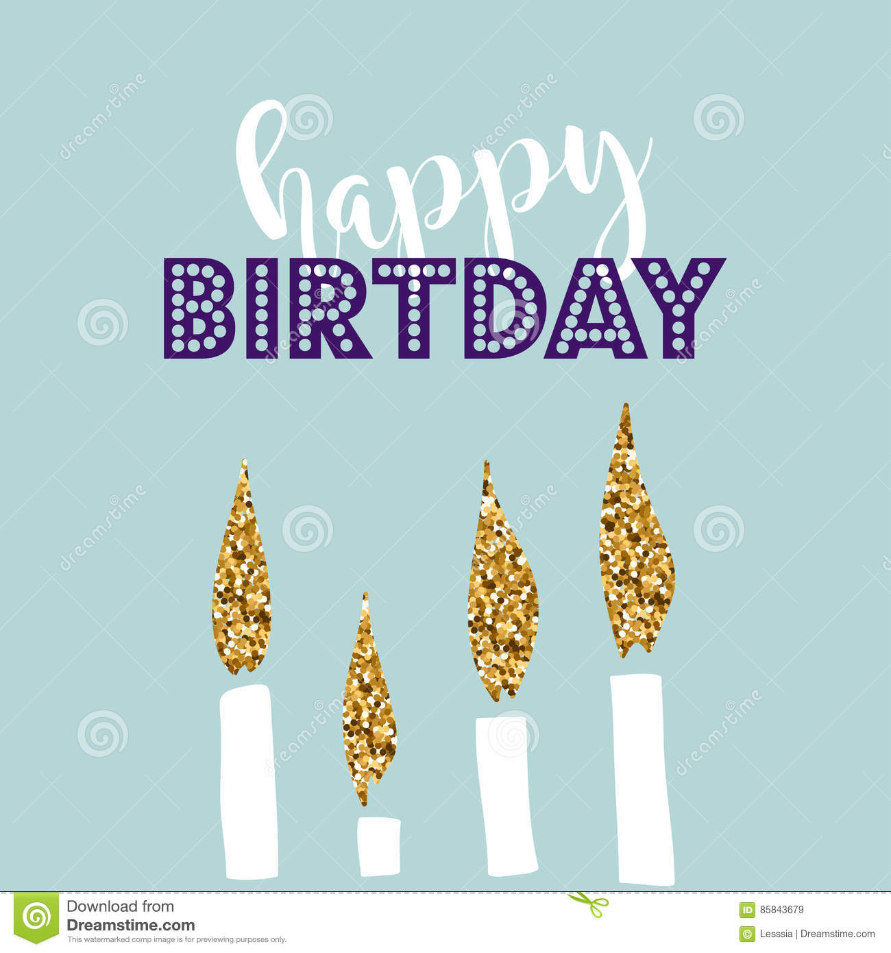 Birthday Greeting Cards With Gold Glitter Design Vector Illustration