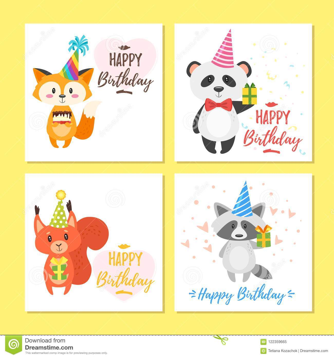 Vector Cartoon Style Set Of Birthday Greeting Cards With Cute Animals And Festive Symbols Isolated On White Background Template For Postcard Print