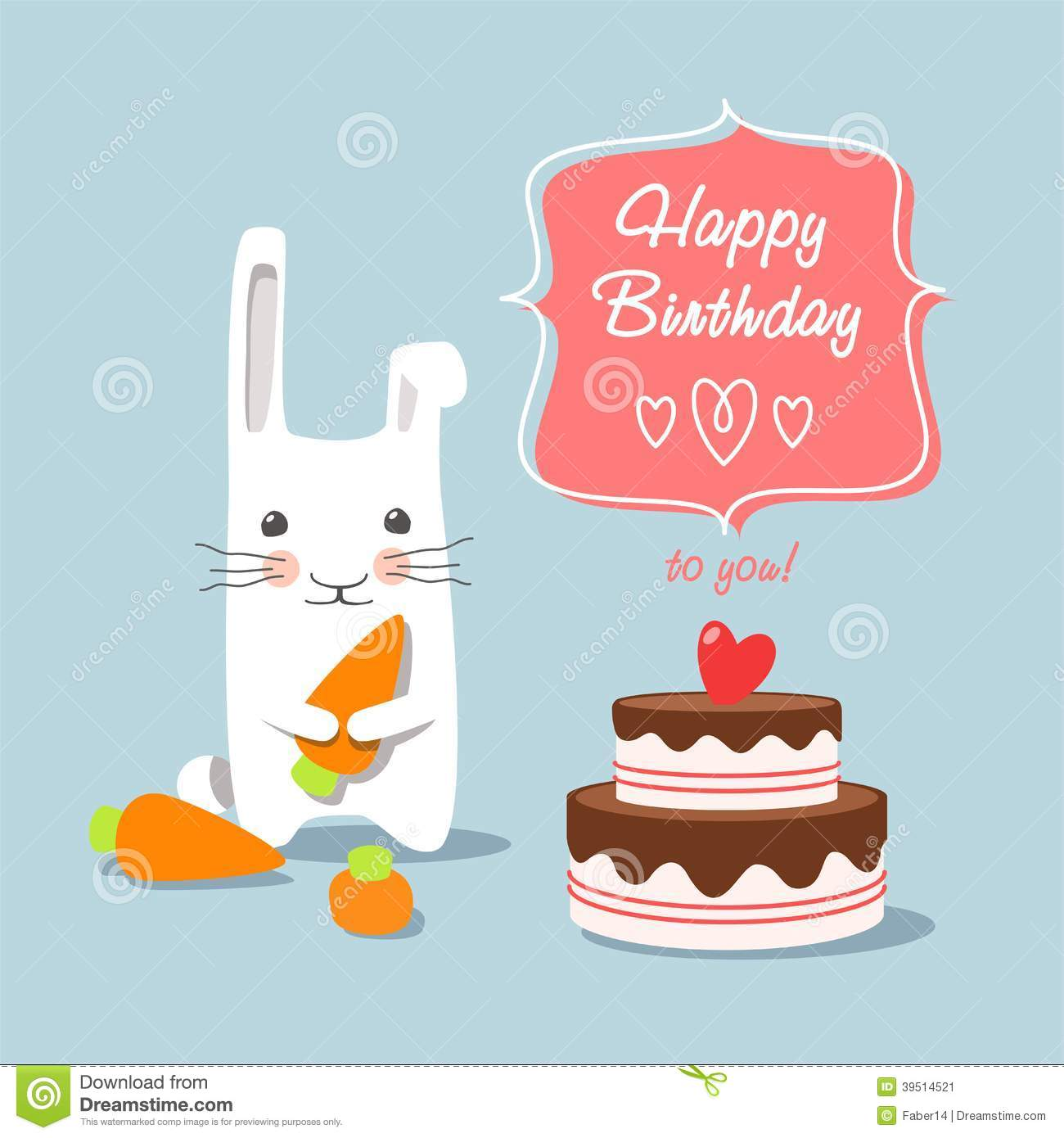 Birthday greetings - bunny on a blue background