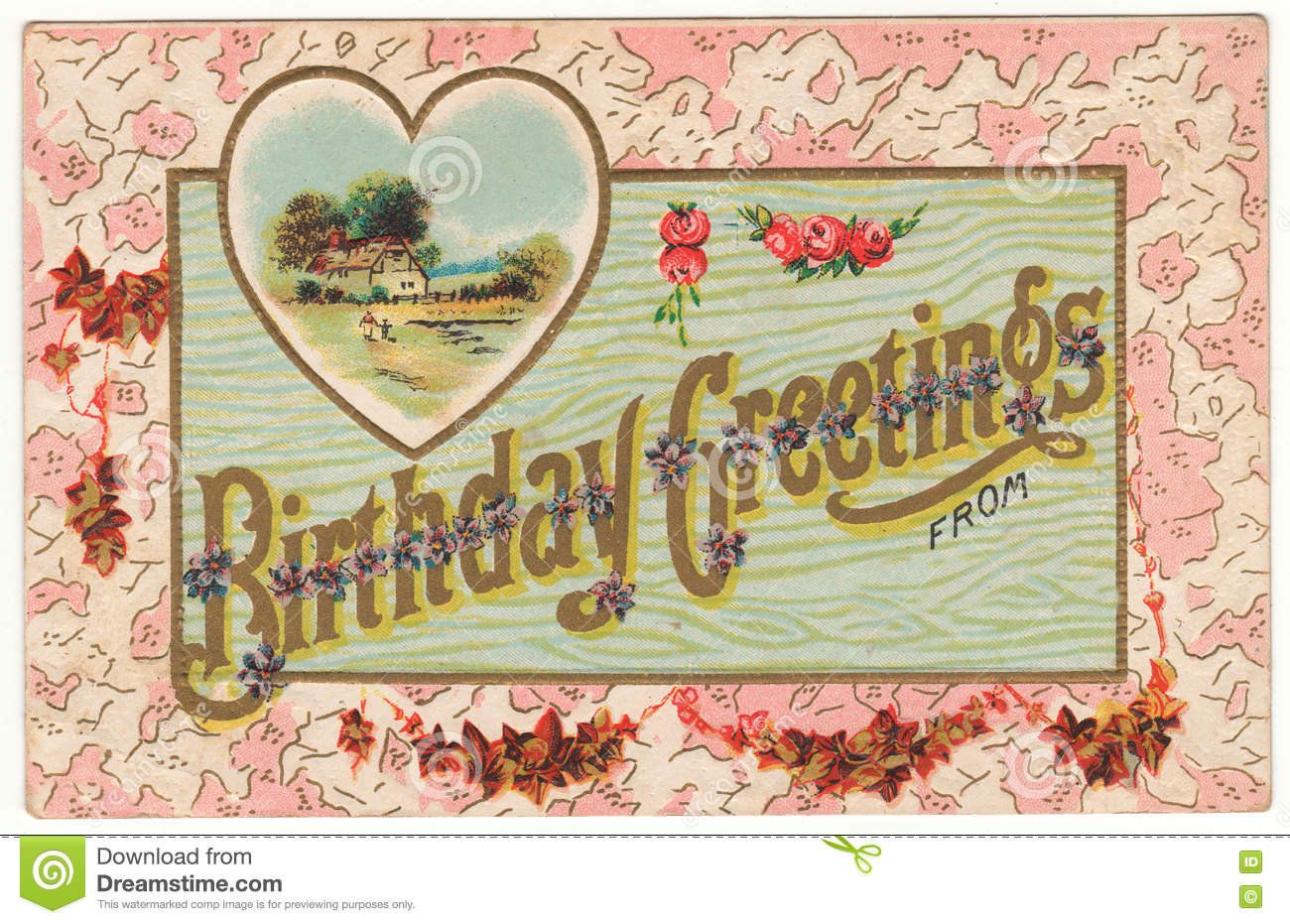 Birthday Greetings From Vintage Postcard Stock Illustration