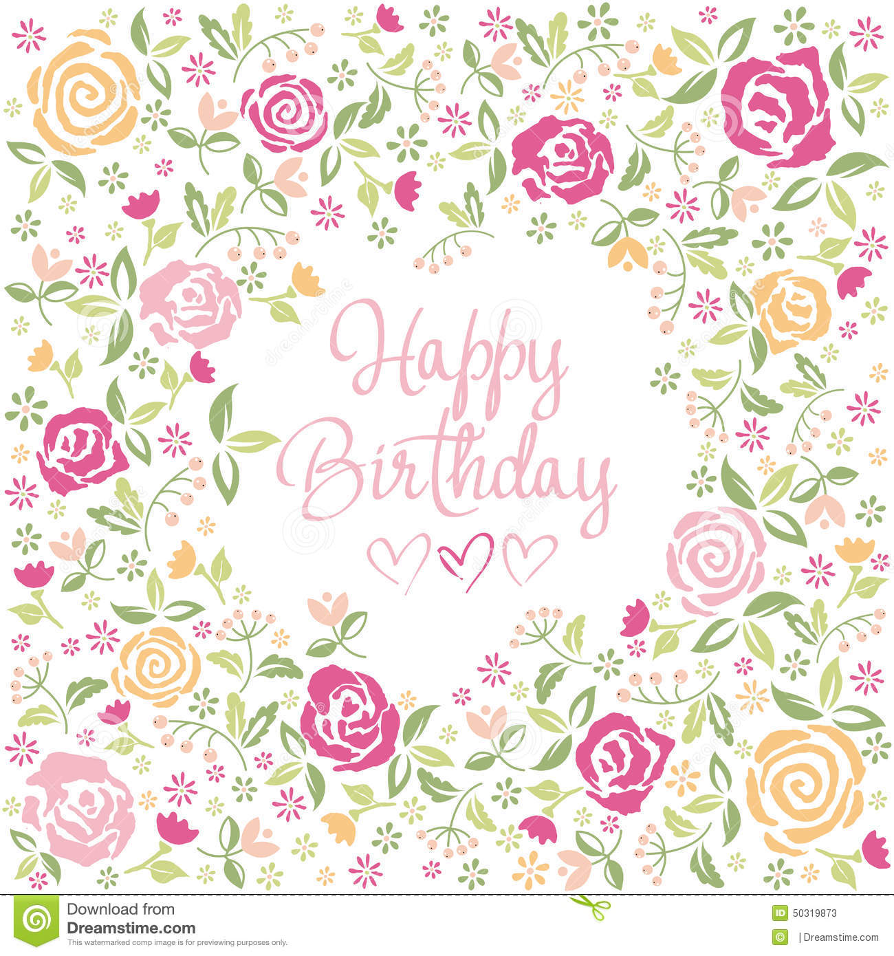 Birthday Greetings Watercolor Stock Vector Illustration Of