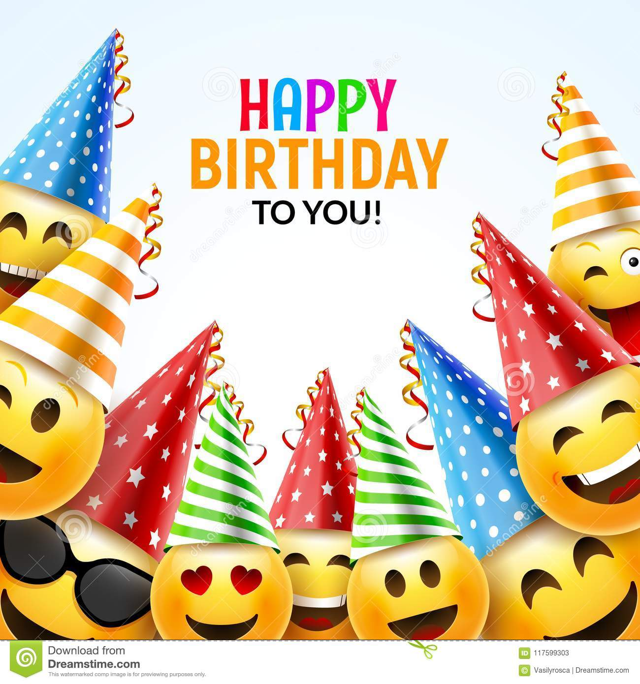 Birthday Happy Smile Greeting Card. Vector Birthday