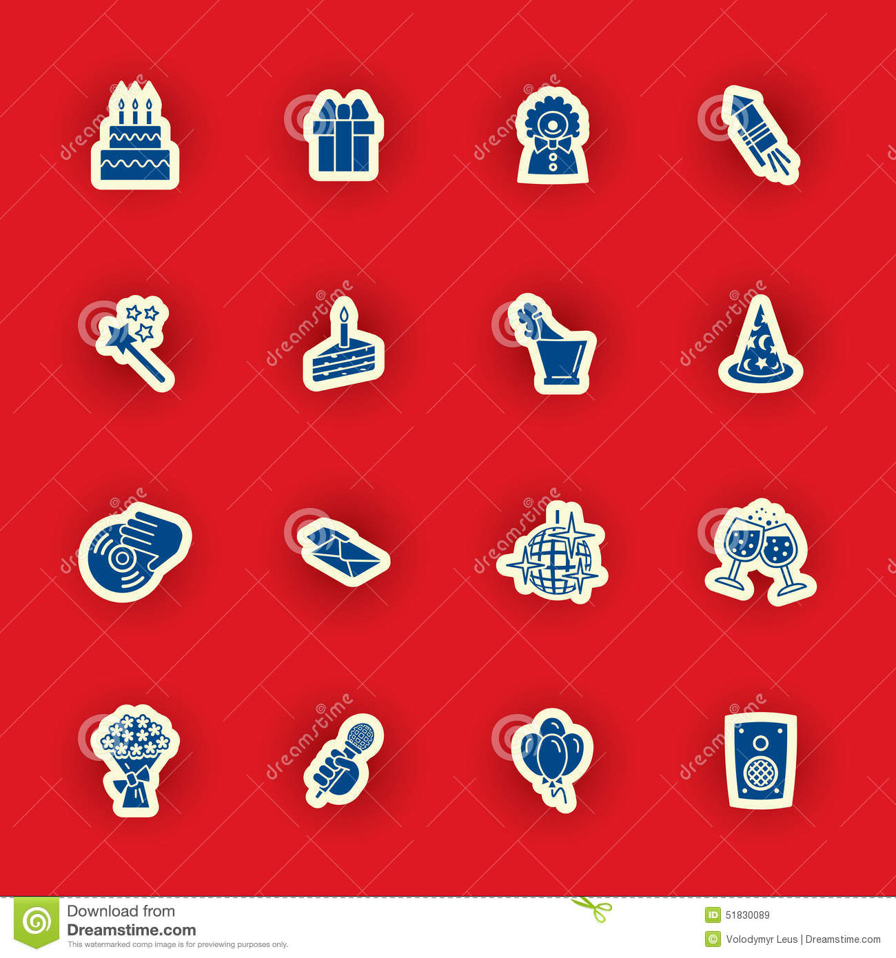 Birthday icon set isolated on red