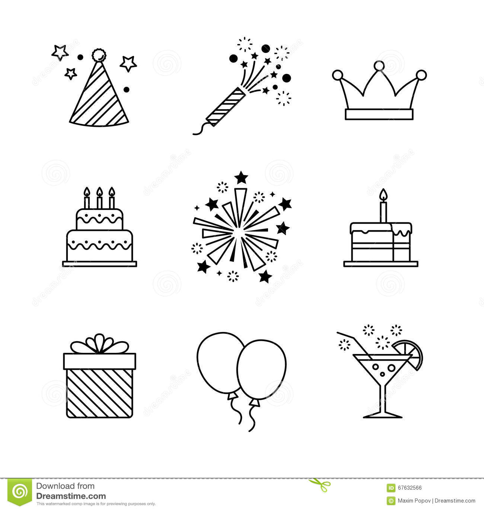 birthday icons thin line art set  celebration stock vector