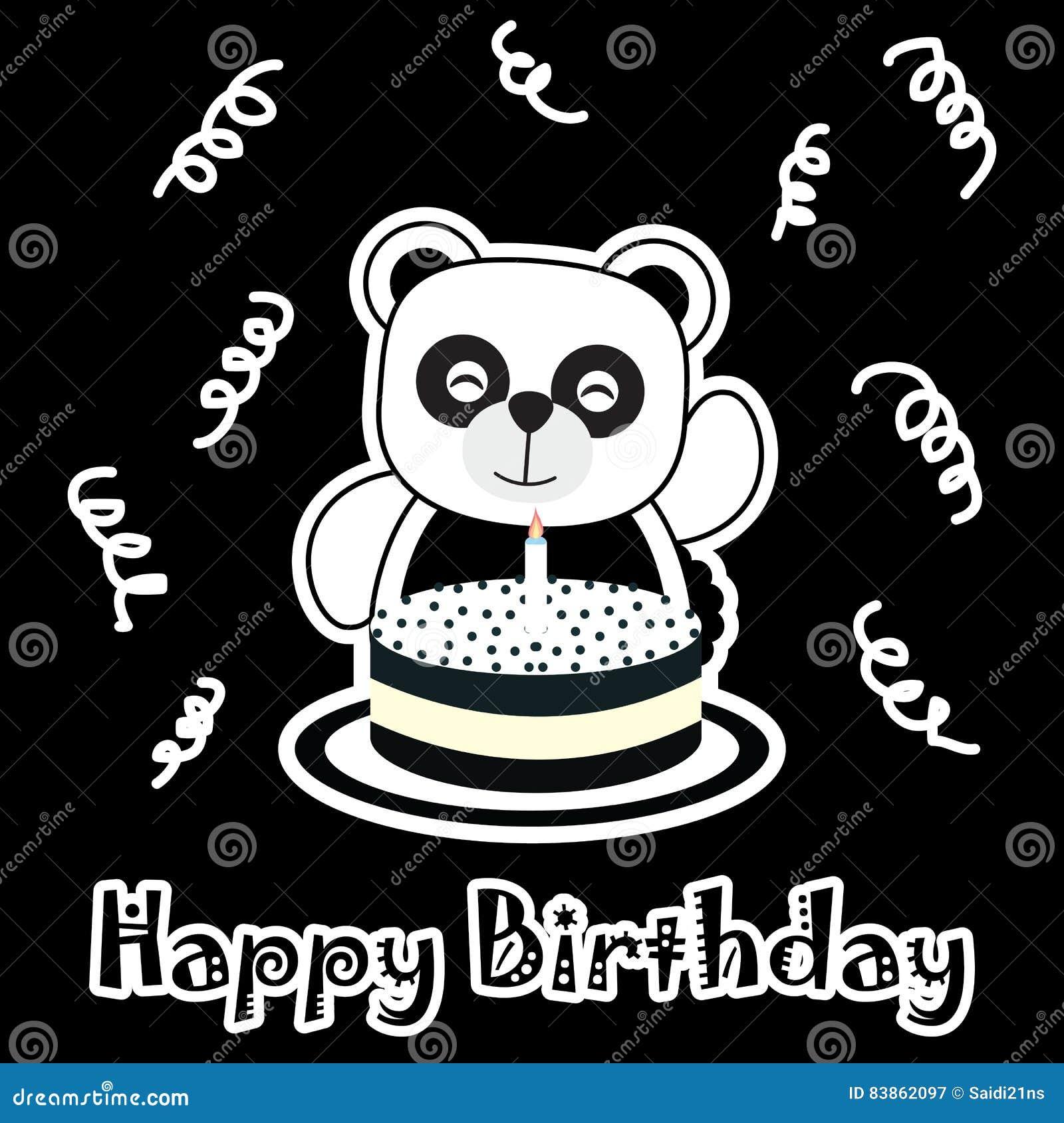 Birthday Illustration With Cute Baby Panda With Birthday Cake Stock