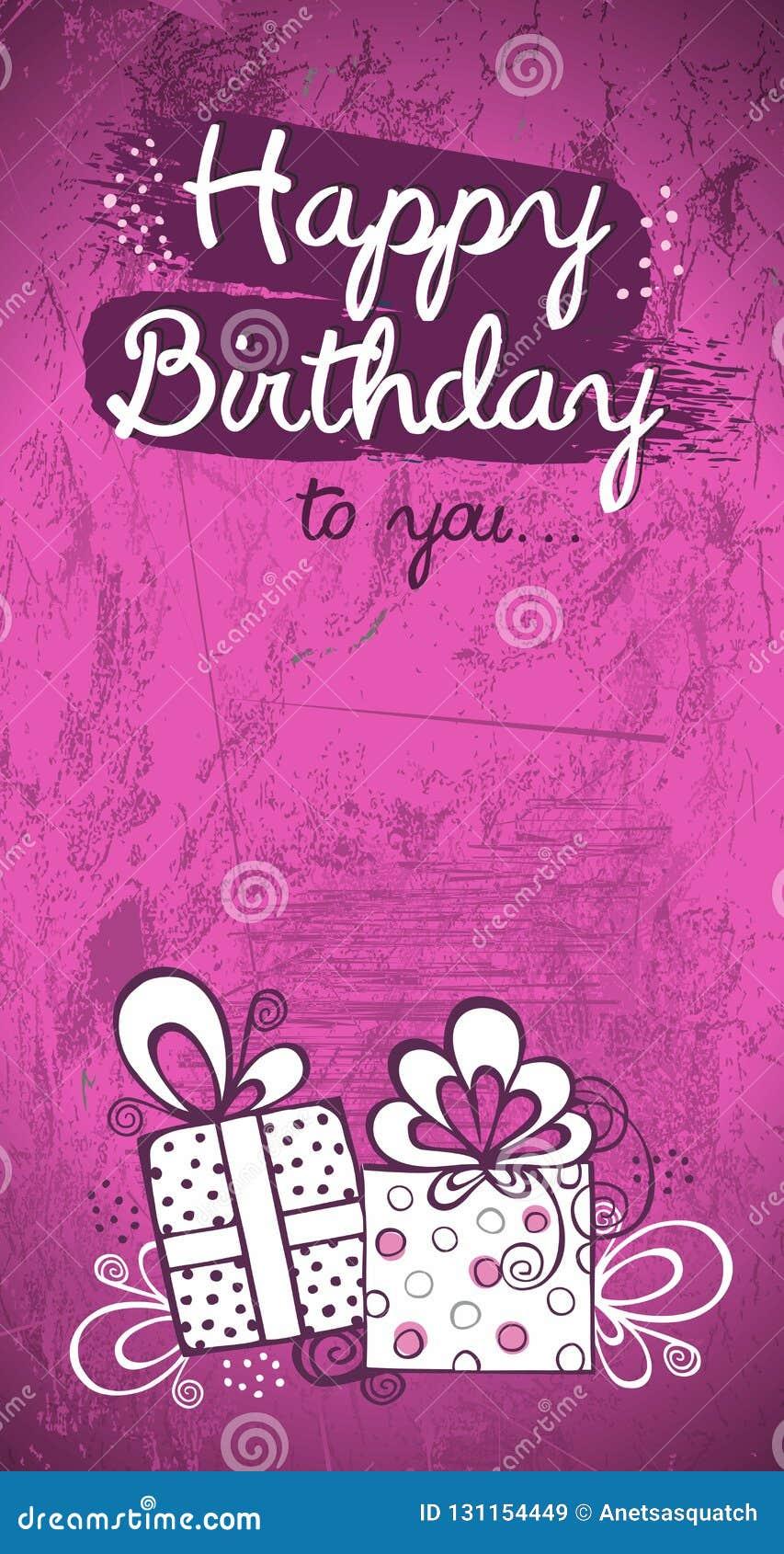 Birthday Invitation Card, Greeting Card Vector Design, Pink