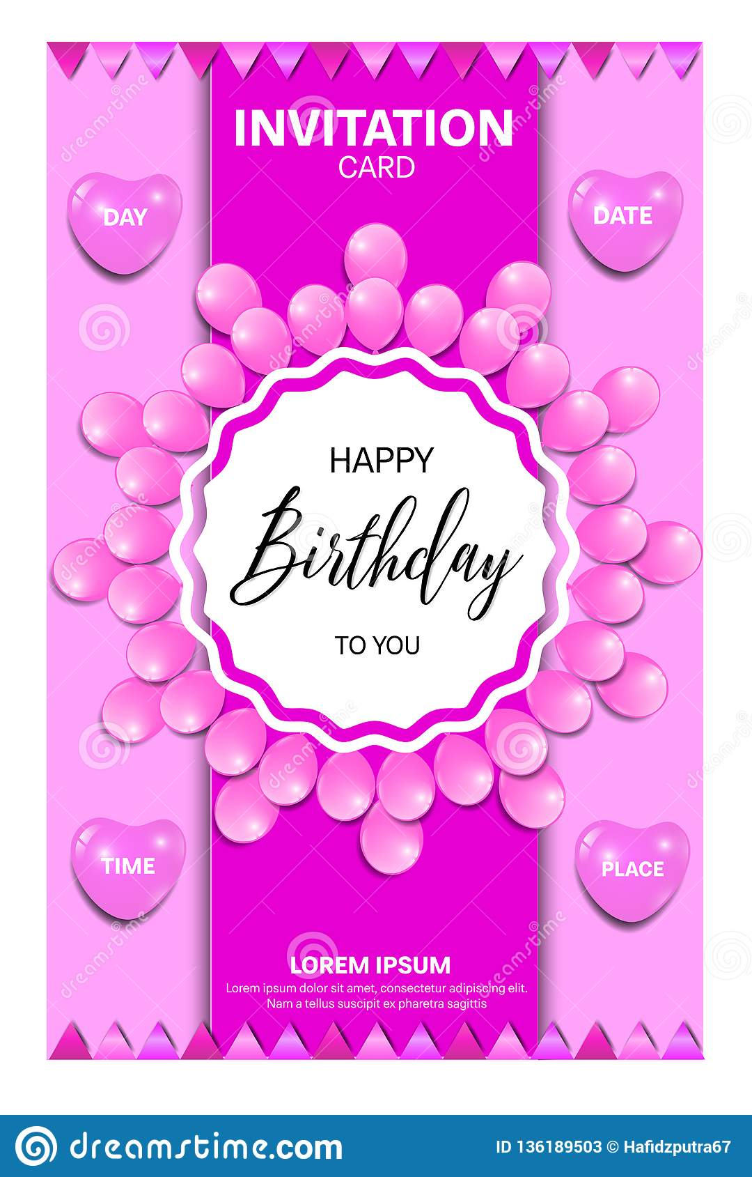 Birthday Invitation Card With Pink Colors Stock Vector