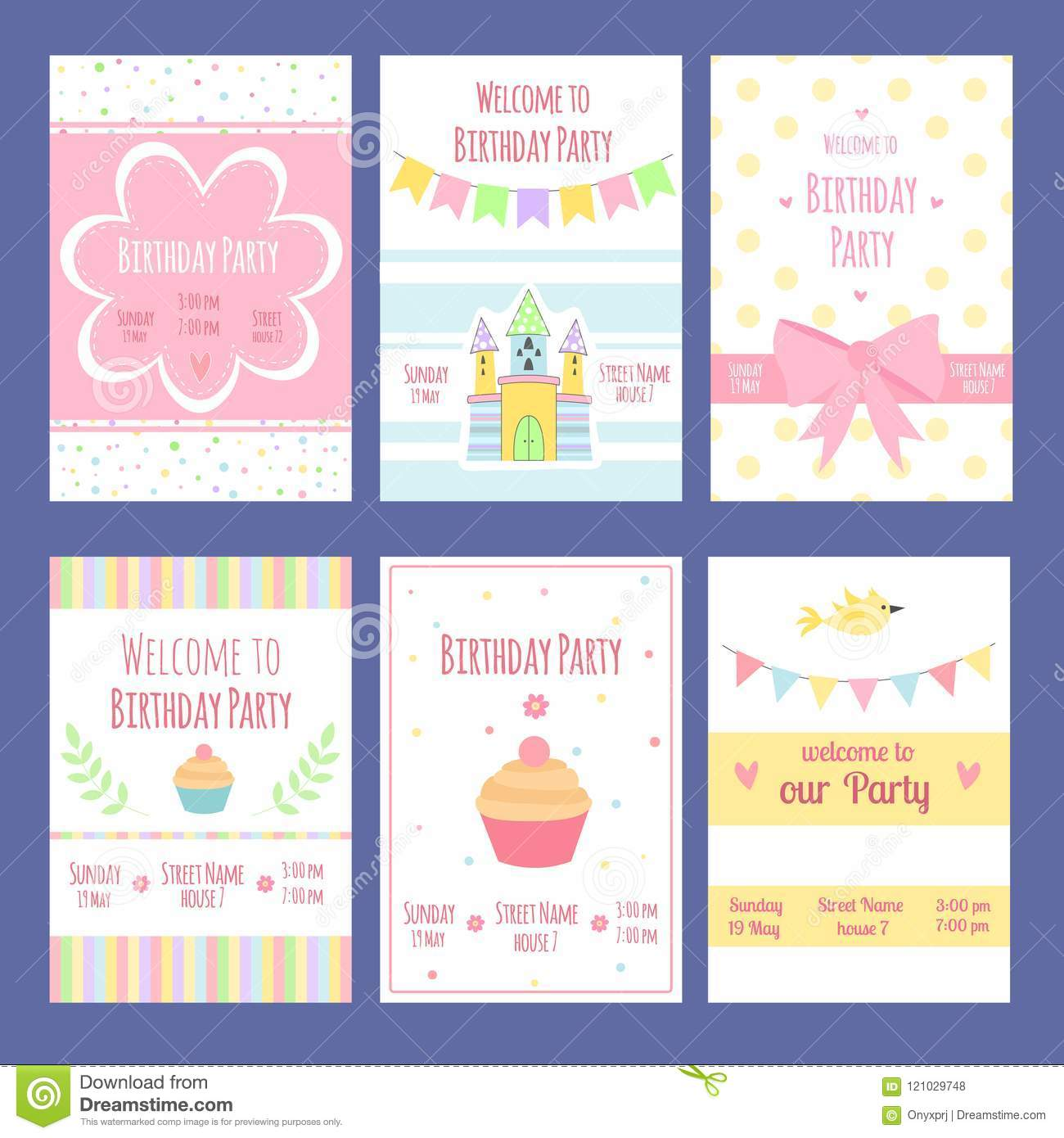 Birthday Invitation Cards. Vector Template With Place For Your