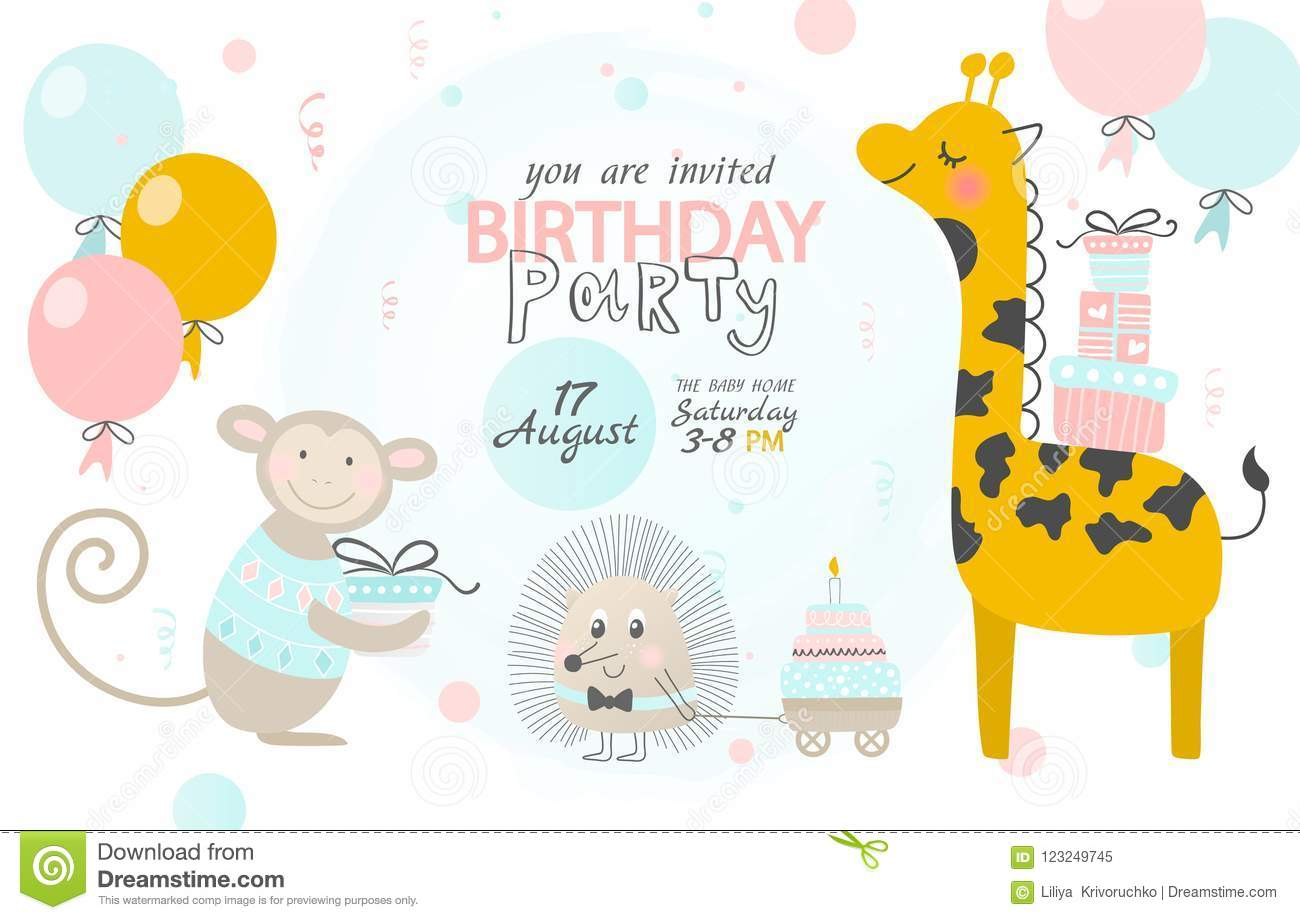 birthday invitation with cute giraffe hedgehog and monkey vector