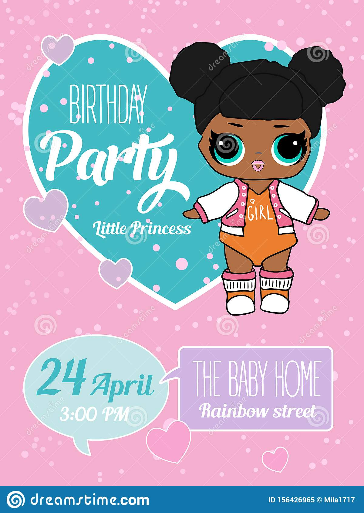 Birthday Invitation With Cute Lol Dolls Element Of Design