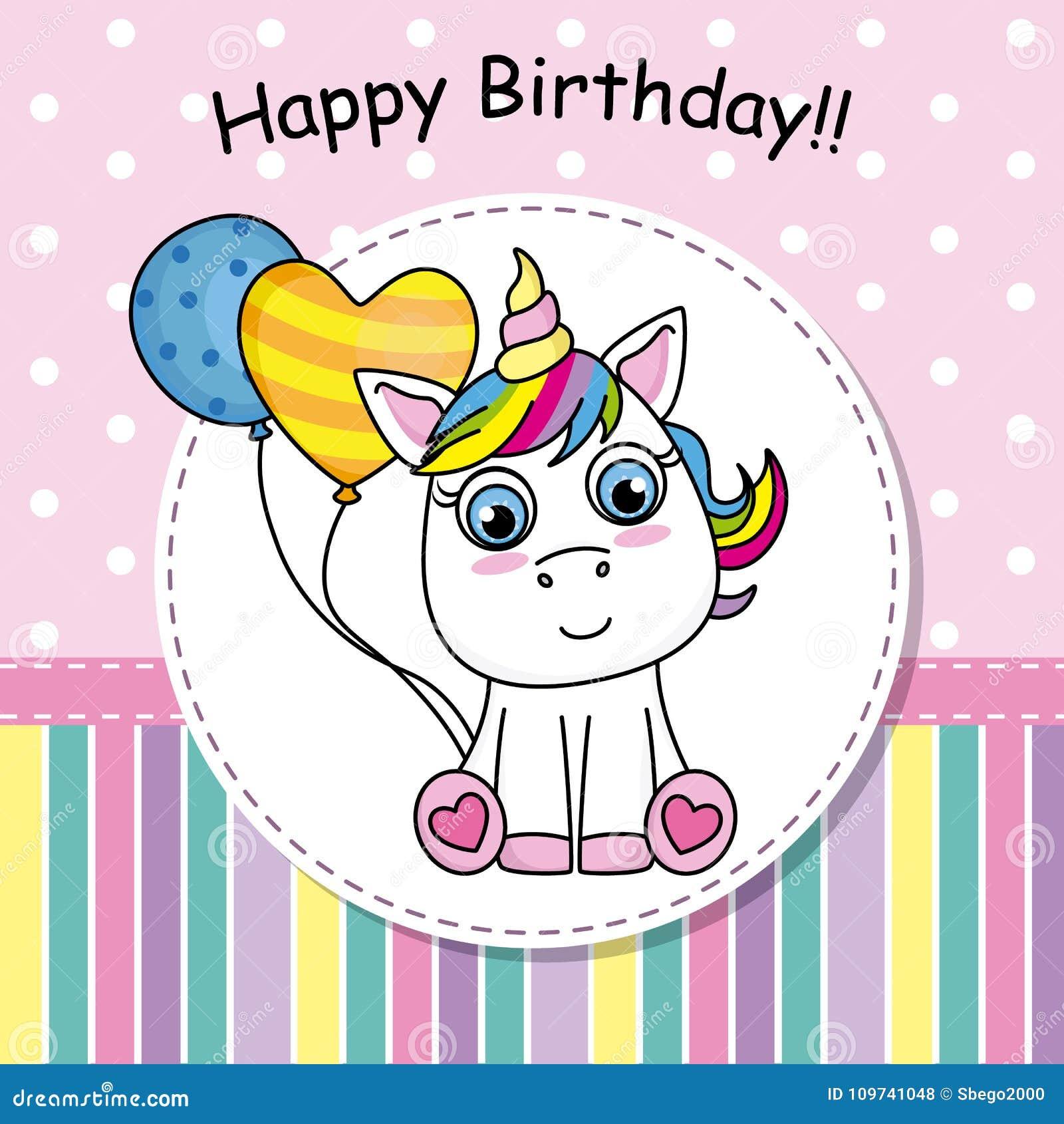 birthday invitation cute unicorn with balloon stock vector