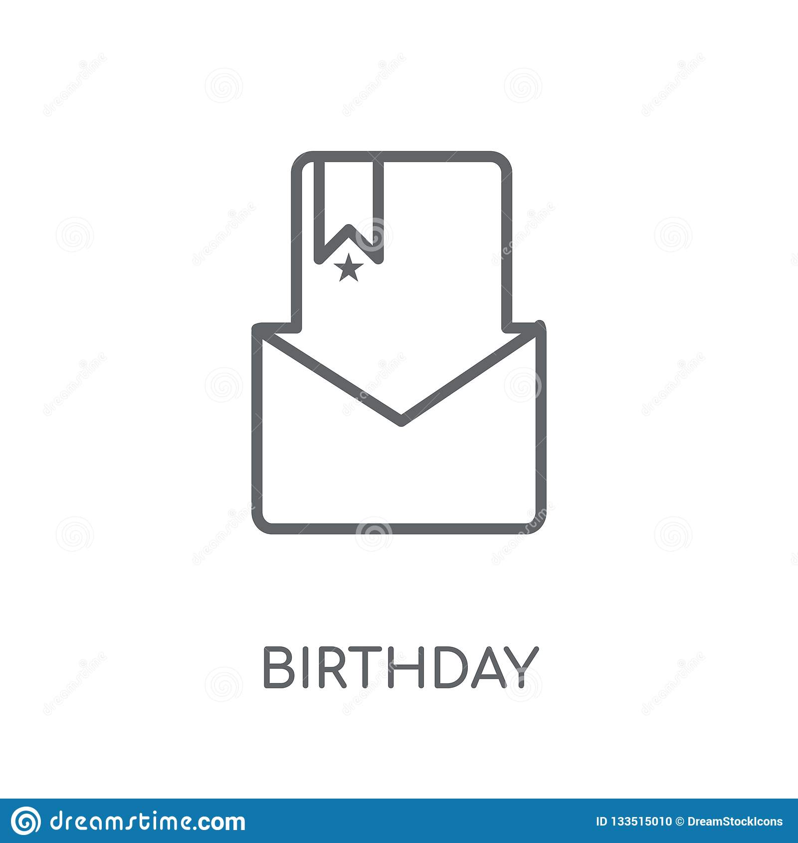 Birthday Invitation Linear Icon Modern Outline Birthday Invitat