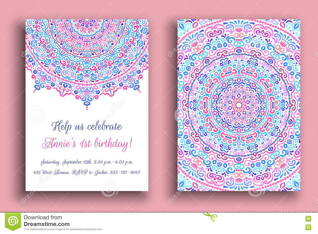 Birthday Invitation Luxury Ornament Stock Vector