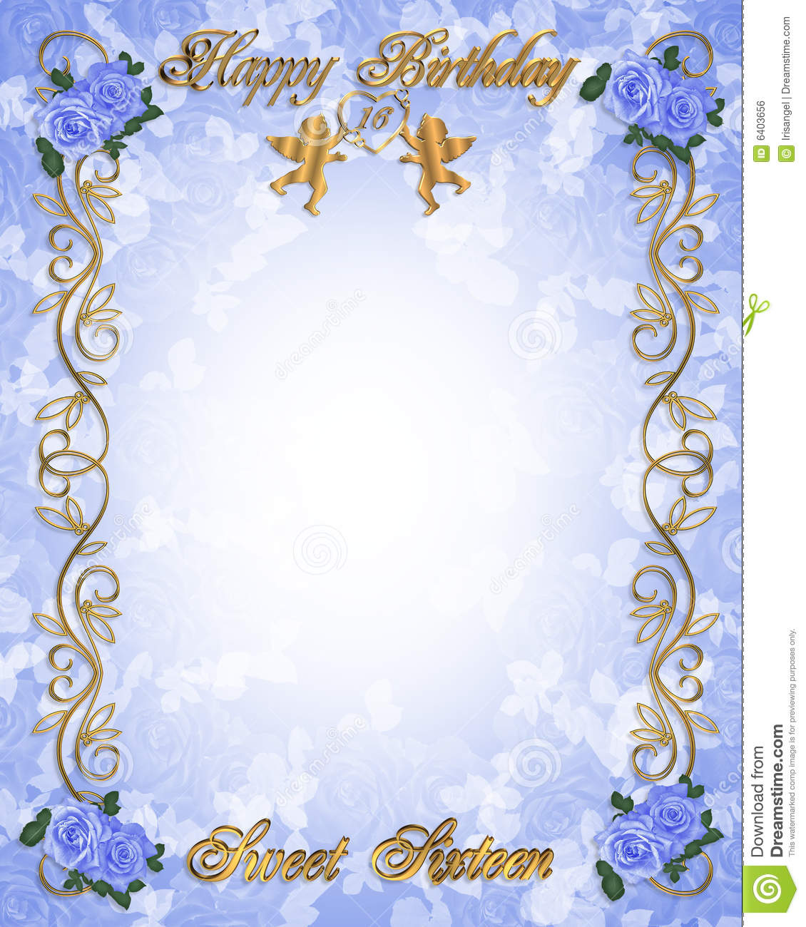 birthday invitation sweet 16 blue stock illustration