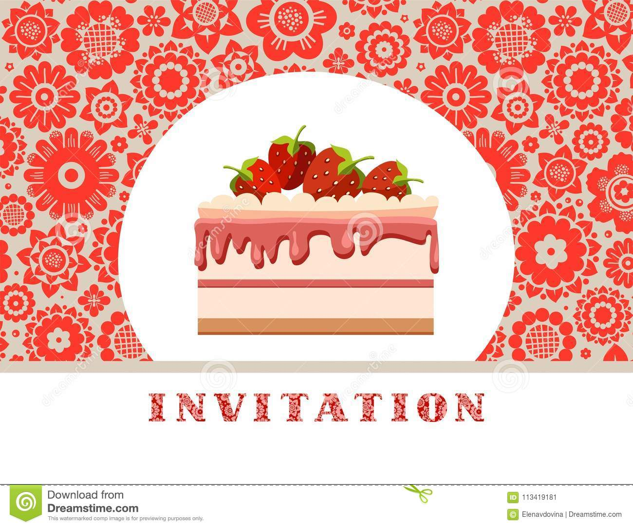 Invitation, Strawberry Cake, Gray-red, Floral Background, Vector ...