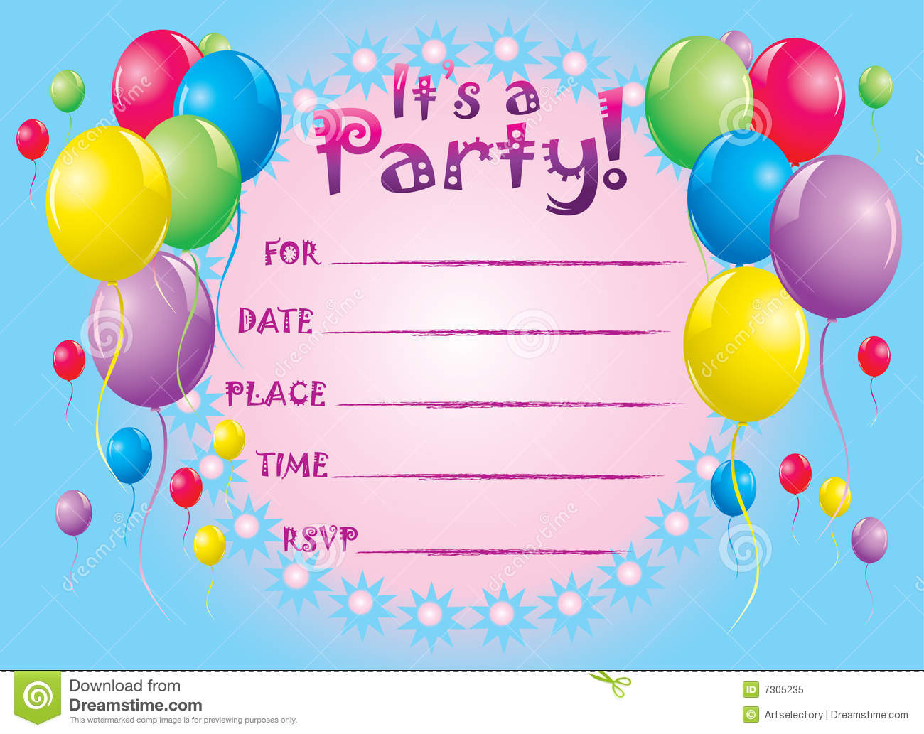 Birthday Invite Card Royalty Free Stock Photo - Image: 7305235