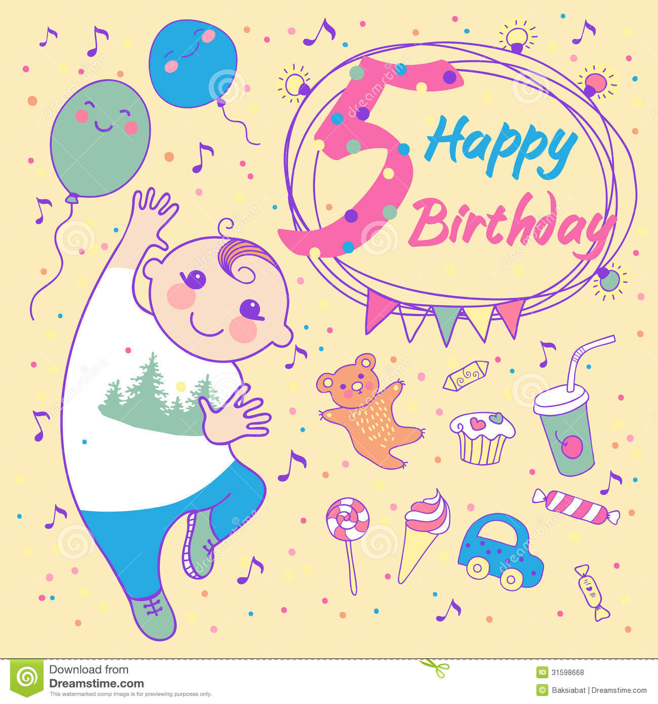 Birthday Of The Little Boy 5 Years Greeting Card Stock Vector Happy Birthday Wishes 5 Year Boy