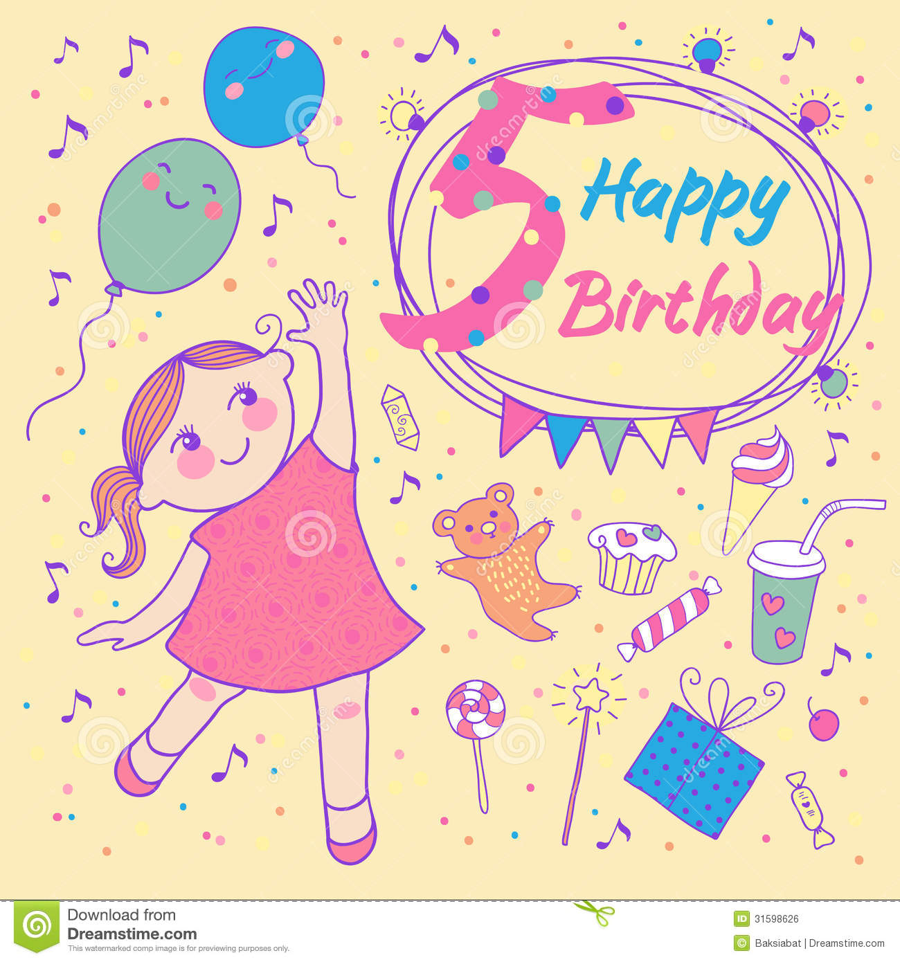 Birthday of the little girl 4 years greeting card stock vector birthday of the little girl 5 years greeting card royalty free stock image bookmarktalkfo Image collections