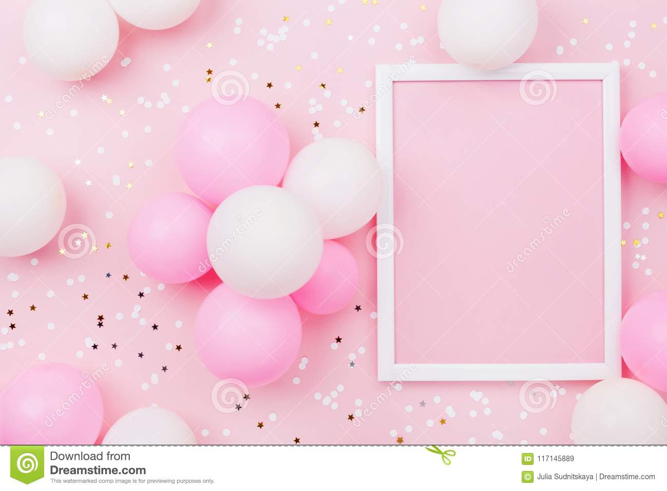 birthday mockup with frame  pastel balloons and confetti